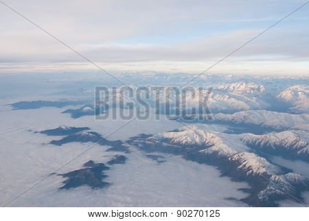 Andes mountains and sky - aerial view