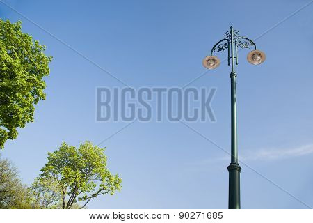 Mast Lighting Streets Of The City On A Background  The Sky