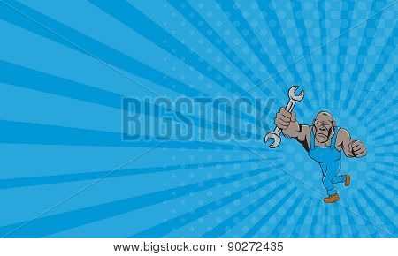 Business Card Angry Gorilla Mechanic Spanner Cartoon Isolated