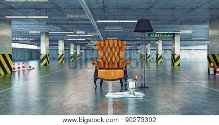 luxury armchair in a urban empty parking. 3d concept