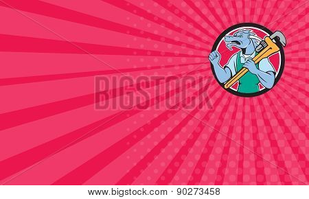 Business Card Dragon Plumber Monkey Wrench Fist Pump Cartoon