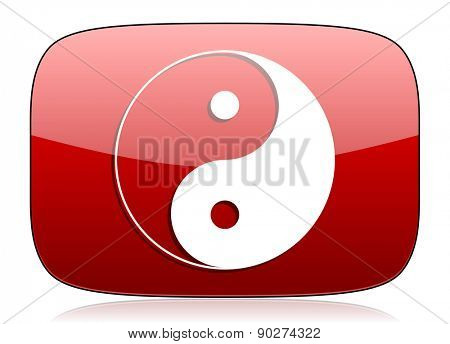 ying yang red glossy web icon