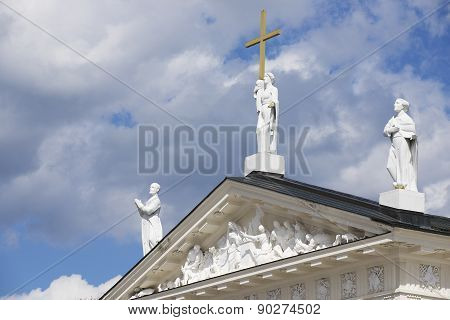 Exterior of the sculptures at the roof top of the Cathedral in Vilnius, Lithuania.