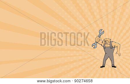 Business Card Bulldog Mechanic Spanner Standing Cartoon