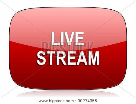 live stream red glossy web icon
