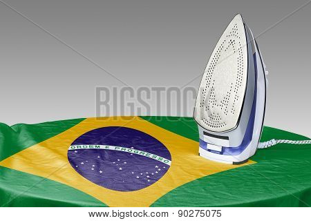 Preparing To Smooth Out The Wrinkles Of Flag-brazil