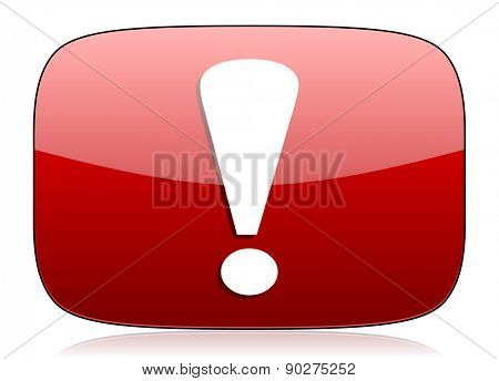 exclamation sign red glossy web icon