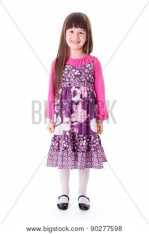 Casual Happy Little Girl Standing Alone