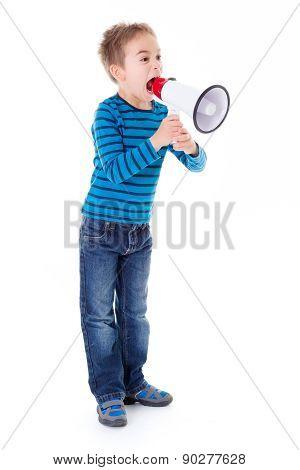 Boy Shouting Into Big White Megaphone