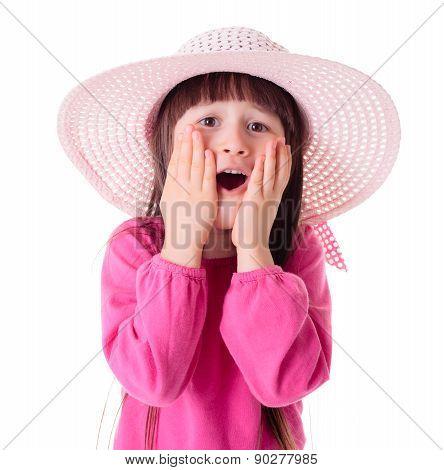 Wondering Girl Wearing Pink Sun Hat