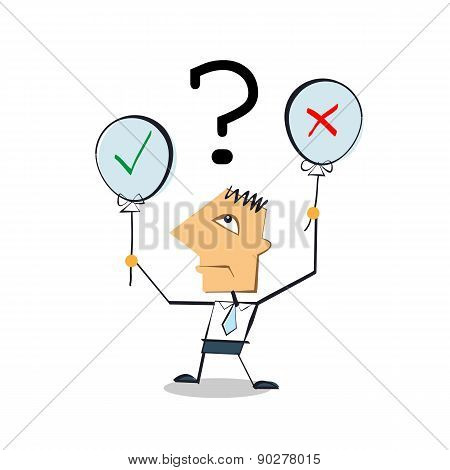 Vector Businessman Cartoon Character Holding Ballons With Yes Or No Sign