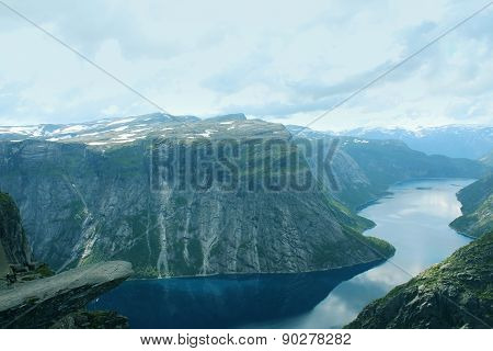 Troll's tongue (norw. Trolltunga) is one of the popular sight places in Norway.