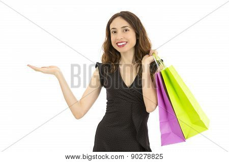 Shopping Woman Presenting Product Space