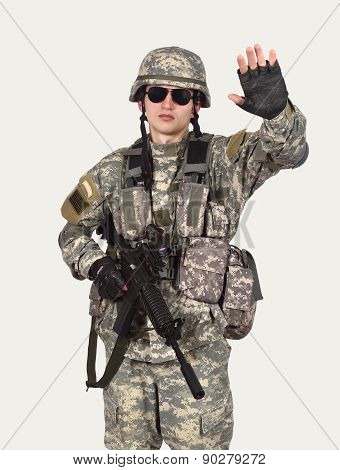 Soldier Showing Stop Symbol