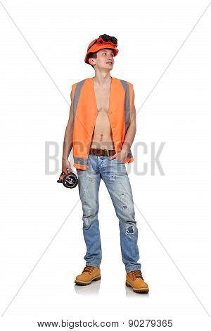 Worker Man With Flashlight