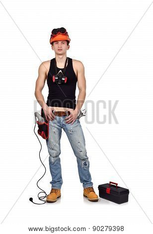 Young Worker With Toolbelt