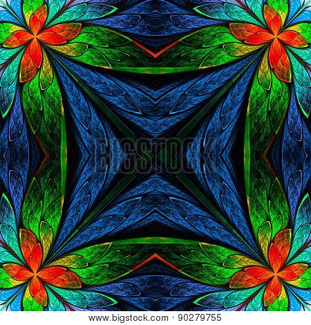 Symmetrical Flower Pattern In Stained-glass Window Style On Black. Green, Blue And  Red Palette. Com