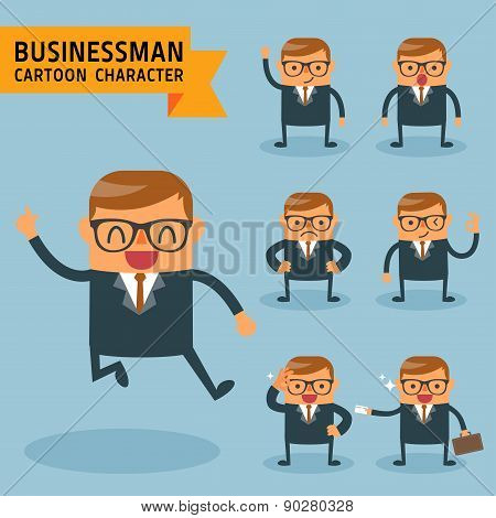 Set Of Businessman Characters Poses