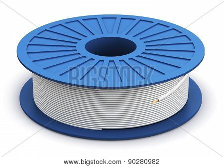 Spool with white electric power cable