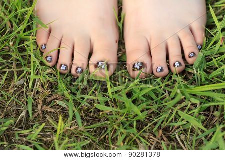Little Girl Toes With Childish Handmade Nail Art