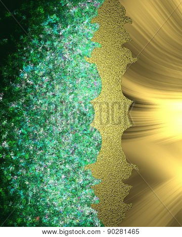 Abstract Green Background With A Gold Edge. Element For Design. Template For Design. Abstract Backgr