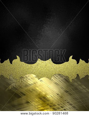 Black Background With Gold Grunge Sign For Text. Element For Design. Template For Design.