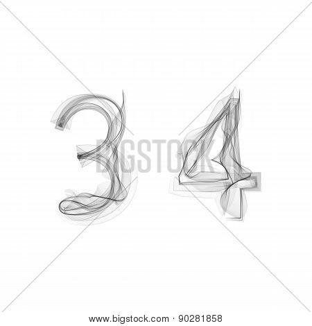 Black Smoke font. Numbers 3 4