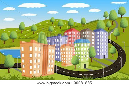 Illustration of a little town in a calm and tranquil environment