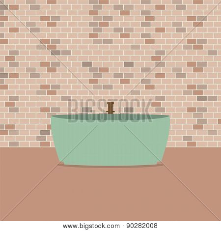 Single Bathtub In Front Of Brick Wall.