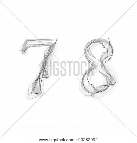 Black Smoke font. Numbers 7 8