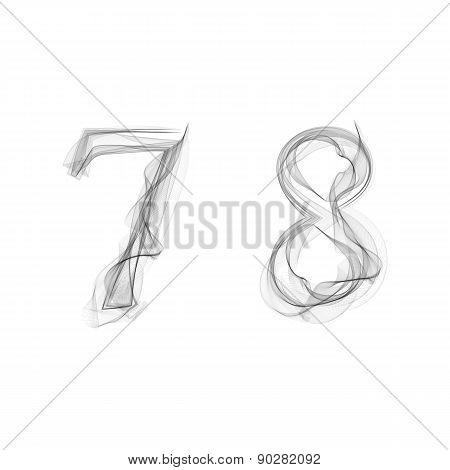 Black Smoke font. Numbers 7 8