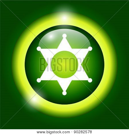 Sheriff Star. Flat Web Icon Or Sign Isolated On Green Background