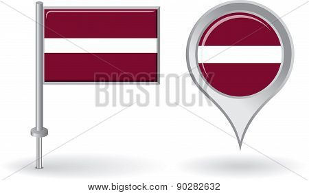 Latvian pin icon and map pointer flag. Vector