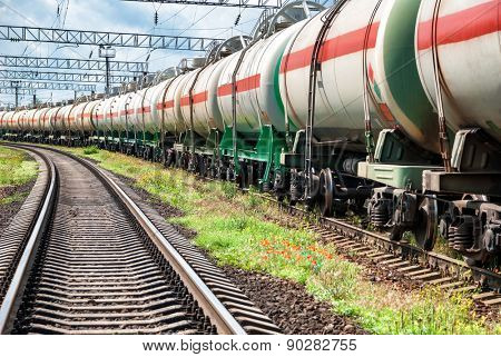 Railway tanks with oil at day