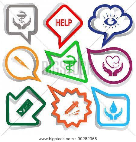 Medical set. Paper stickers. Raster illustration.
