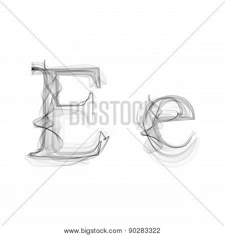 Black Smoke font. Letter E