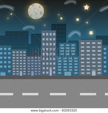 Night City Location Illustration. Game Background Sky
