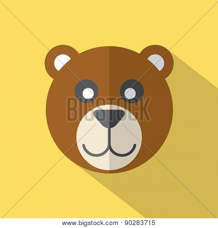 Modern Flat Design Bear Icon.