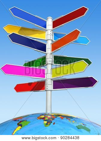 Direction destination sign board on the earth. 3d
