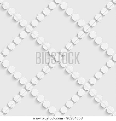 Seamless Circle and Diagonal Stripe Pattern. Vector Soft Background. Regular White Texture