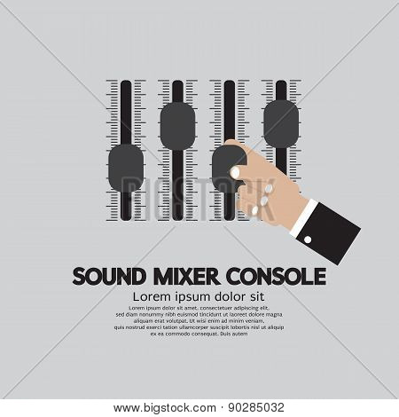 Hand With Sound Mixer Console.