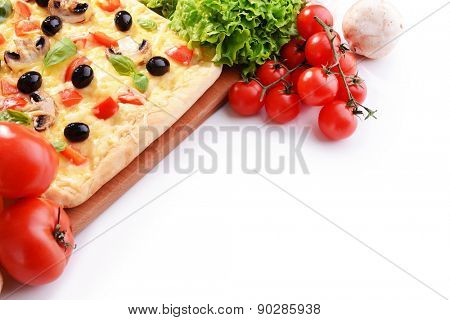 Delicious homemade pizza on white background