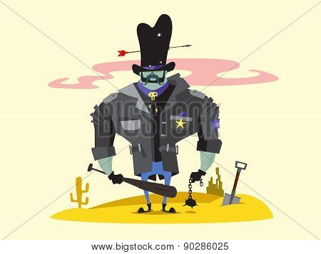 Wild West Sheriff Cartoon Character