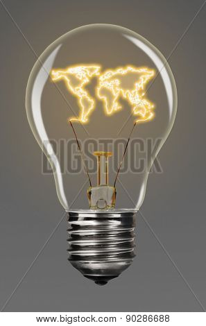 bulb with glowing world map inside of it, creativity concept, Earth silhouette is from visibleearth.nasa.gov