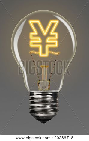 bulb with glowing yen sign inside of it, financial creativity concept