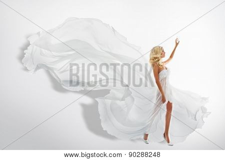 Woman White Waving Dress, Flying Fabric, Silk Cloth Flowing
