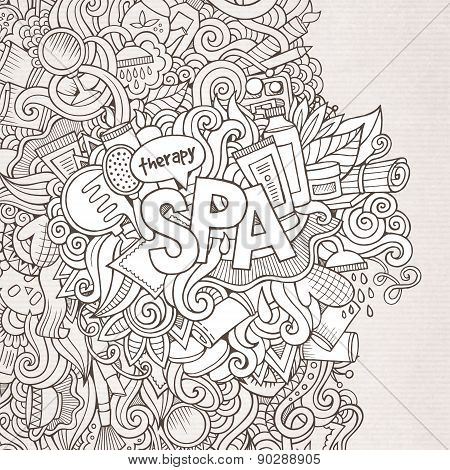 Spa hand lettering and doodles elements background. Vector illus