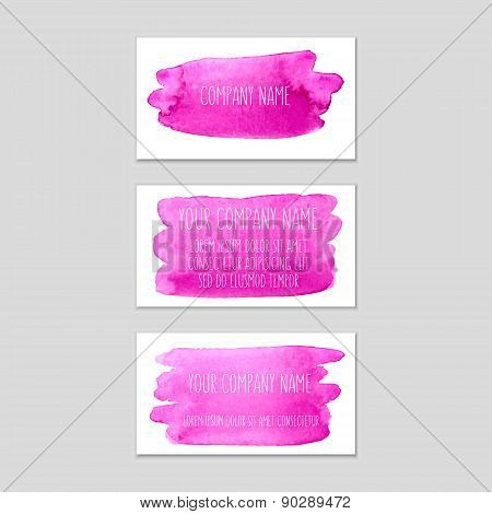 Set Of Business Cards With Pink Watercolor Background.