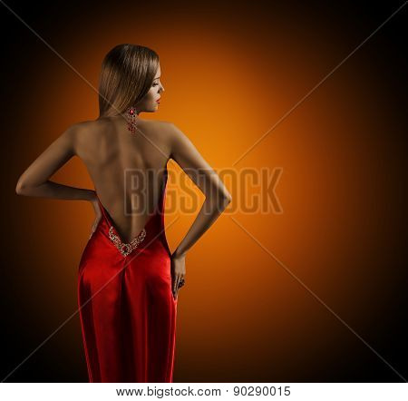 Woman Naked Back, Womanly Fashion Model Posing Sexy Red Dress, Elegant Girl Rear View