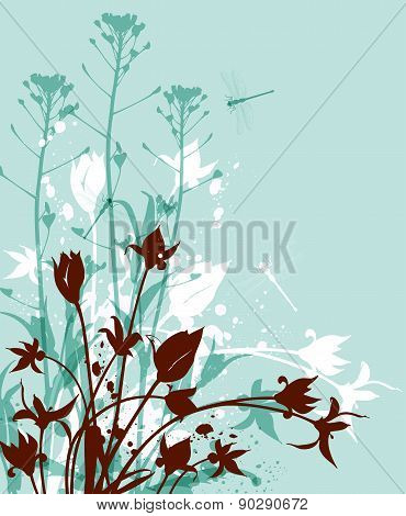 Green Background With Wildflowers